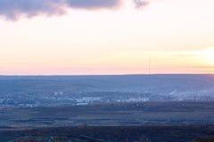Landscape of Negresti village at red sunset in Moldova Royalty Free Stock Photos