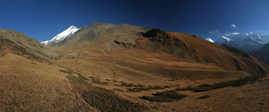 Landscape of Nepal highlands. Nepal highlands, pano. Annapurna circuit trekking Royalty Free Stock Image