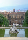 Landscape of Neptune's fountain in Boboli gardens, Florence, Italy Royalty Free Stock Photos