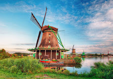 Landscape of Netherlands windmills. At day Stock Photography