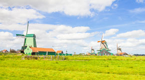 Landscape in The Netherlands with windmills Royalty Free Stock Photo