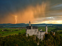 Landscape with Neuschwanstein castle Royalty Free Stock Photo