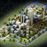 Landscape of new sustainable city wintertime. Concept development illustration perspective render illustration Royalty Free Stock Photo