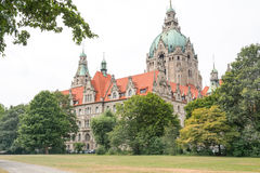 Landscape of the New Town Hall in Hanover, Germany Royalty Free Stock Image