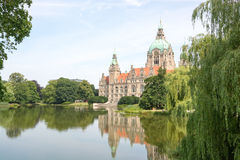 Landscape of the New Town Hall in Hanover, Germany Stock Photo