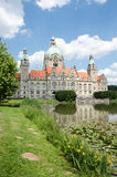 Landscape of the New Town Hall in Hanover, Germany Royalty Free Stock Photo
