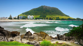 Landscape, New Zealand. Mt Maunganui and Pilot Bay, Tauranga. Bay of Plenty. New Zealand Stock Image