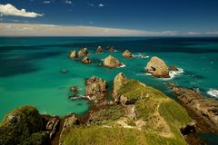Landscape New Zealand - Nugget point on Southern Island Royalty Free Stock Images