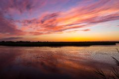 Nice sunset on river Royalty Free Stock Images
