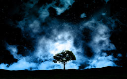 Landscape at night against space sky. 3D space landscape with tree silhouette against sky Stock Image
