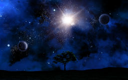 Landscape at night against space sky. 3D space landscape with tree silhouette against sky Royalty Free Stock Photos