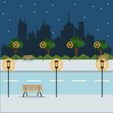 Landscape night city street park brench vector illustration