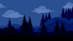 Landscape, night forest, seamless loop stock footage