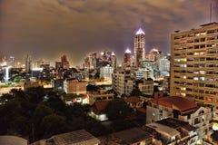 Landscape - night metropolis illuminated by lights Royalty Free Stock Photography