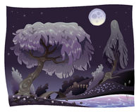 Landscape in the night with river. Vector illustration Royalty Free Stock Photo