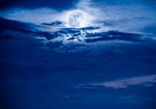 Landscape of night sky with beautiful full moon, serenity nature. Attractive photo of background nighttime with cloudy. Landscape of night sky with beautiful stock photography