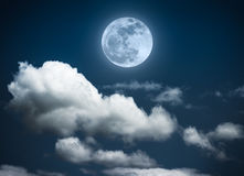 Landscape of night sky with beautiful full moon, serenity nature. Attractive photo of background nighttime with cloudy. Landscape of night sky with beautiful stock images