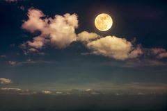 Landscape of night sky with beautiful full moon, serenity nature. Beautiful skyscape. Landscape of night sky with clouds and bright full moon. Serenity nature stock photo