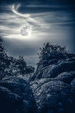 Landscape of night sky with full moon,  serenity nature backgrou. Landscape of night sky with beautiful bright  full moon above view point on the top of mountain Royalty Free Stock Photo