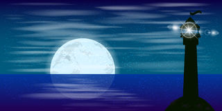 Landscape. Night sky moon reflection beacon signal Stock Image