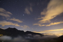 Landscape at night, with stars Stock Images