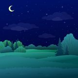 Landscape, night summer forest stock illustration