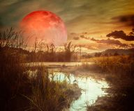 Landscape at night time in the forest lake with fogy and darkness sky super blood moon in the background. The foreground is a small stream flowing from the lake stock image