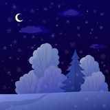 Landscape, night winter forest Royalty Free Stock Image