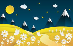 Landscape nighttime flower field with summer season. Paper art style Royalty Free Stock Images