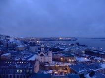 Landscape of Nijni Novgorod by night in winter. royalty free stock image