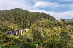 Landscape with Nine Arch Bridge. Demodara Nine Arch Bridge in Ella, Sri Lanka Royalty Free Stock Photo