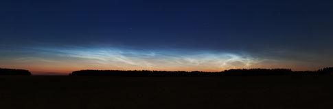 Landscape with noctilucent clouds Royalty Free Stock Images