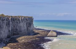 Landscape in Normandy. Coastline in Normandy in Northern France, during the low tide time Stock Photography