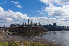 Landscape of a North American city in spring Royalty Free Stock Images