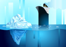 Landscape of northern and Antarctic life. Iceberg in ocean. And icebreaker. Art deco vector illustration stock illustration
