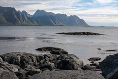 Arctic Ocean. Landscape of northern Norway with Arctic Ocean and mountain view, Senja island Royalty Free Stock Photo