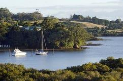 Landscape of Northland New Zealand. Yachts rest on Kerikeri inlet, Northland New Zealand Stock Photo