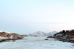 Landscape in Norway. Bay in the Lofoten Islands - during the polar night - Norway Royalty Free Stock Photos