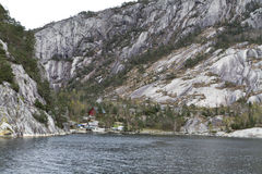 Landscape in norway - coastline in fjord Stock Photos