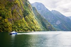 Landscape in Norway. Landscape with Naeroyfjord and high mountains in Norway Royalty Free Stock Photo