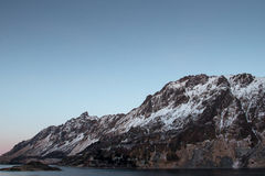 Landscape in Norway. Mountains in the Lofoten Islands - during the polar night - Norway Stock Photography