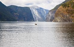 Landscape in Norway. Landscape with Naeroyfjord and high mountains in Norway Royalty Free Stock Photography
