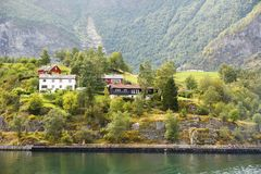 Landscape in Norway. Landscape with Naeroyfjord, mountains and traditional houses in Norway Stock Image