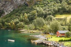 Landscape in Norway. Landscape with Naeroyfjord, mountains and traditional village house in Norway Royalty Free Stock Photo