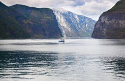 Landscape in Norway. Landscape with Naeroyfjord, ship and mountains in Norway Royalty Free Stock Photo