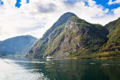 Landscape in Norway. Landscape with Naeroyfjord, ship and mountains in Norway Royalty Free Stock Images