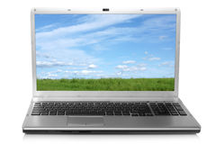 Landscape on notebook screen Royalty Free Stock Photos