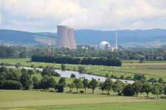 Landscape at the nuclear power plant Grohnde Royalty Free Stock Images