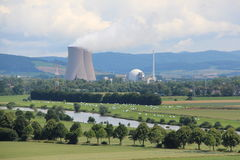 Landscape at the nuclear power plant Grohnde Stock Image