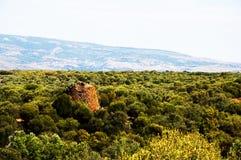 Landscape Nuraghe tower sardinia stock photo